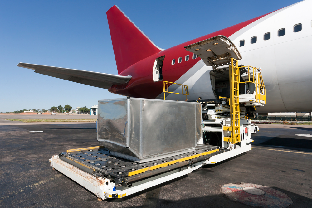 Products loading into plane